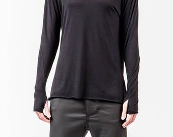 Long Black Top,  Long sleeves Blouse, High Quality Virgin Wool, Black Sweater