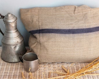 Antique grainsack, hemp grainsack, blueberry stripe, handloomed linen, herringbone,grainsack, tablerunner, upholstery project, cushions,