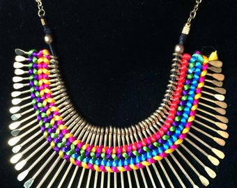 Gold Fringe Necklace,Bib Necklace,Statement Jewelry,silk thread inlay,Summer Necklace
