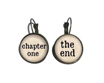 Storyteller Earrings, Chapter One, The End, Writer Earrings, Typewriter Earrings, Reader Drop Earrings, Gift for Author Writer Reader