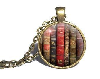 Book Spines Necklace, Bookshelf, Antique Books, Reader Book Necklace, Literature Ring, Reader Gift, Librarian Necklace, Reader Bracelet