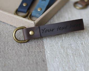 Custom Leather Keychain Personalized Key fob Leather key chain Personalized FREE - Laser Engraving