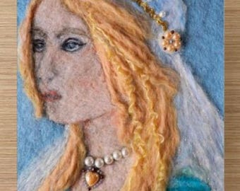 2 Piece Art card, renaissance felt art, needle felt painting, unique greeting card, gift for her, italy greeting card, renaissance lady