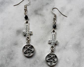 earrings inverted cross inverted pentagram pentacle silver lucifer satan satanic gothic occult pagan witch witchcraft witchy dark