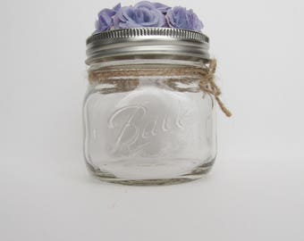 Purple Floral Lid Jar | Perfect For Small Desk Items