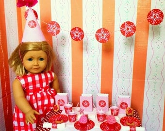 American Girl Birthday Party Supplies 18 Inch Dolls: Plates, Cups, Napkins, Banner, Favors, Cookies and Cupcakes, Star-Themed Miniatures