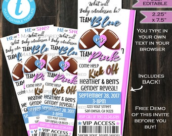 Gender Reveal Invitation Ticket Football Invite- Baby Shower- Football Ticket- Team Blue Team Pink - Custom Printable INSTANT Self EDITABLE