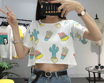 Cute Cactus Crop Top Coachella Crop top Summer Crop Top Kawaii Crop Top Desert Crop Top Succulents Cacti Festival Crop top Stagecoach Crop