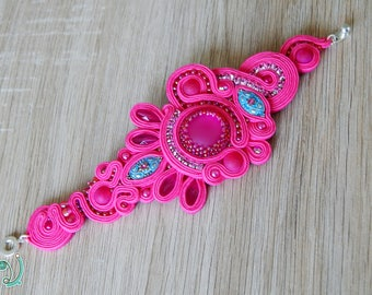 Pink soutache bracelet, Soutache jewelry, Made to order bracelet, Gift for her
