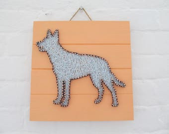 Peach and Light Blue Dog String Art - Free Shipping
