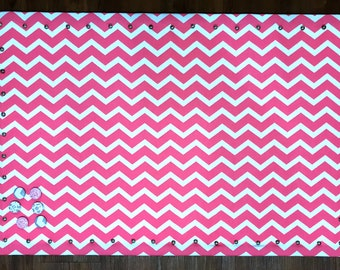 "Large 23 X 36"" Pink and White Chevron Fabric Covered Magnet Pin Board Jewelry Board Fabric Memo Board Magnet Board Fabric Bulletin Board"
