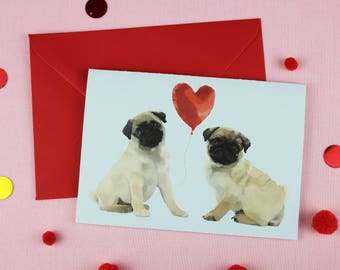 Valentines Day Card / Valentine's love / Pug Anniversary Card / Pug Wedding Card / Engagement card / Card for her / Card for him / Pug card
