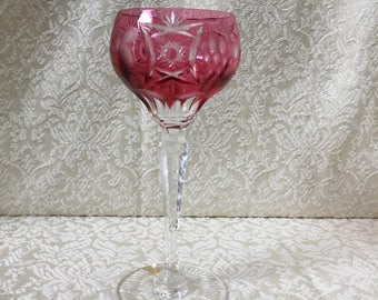 "Vintage Nachtmann Traube Wine Goblet Cranberry Cut to Clear 6 7/8"" Tall Label Attached"