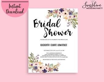 Bridal Shower Invite Template, Bridal Shower Invitation, Printable Bridal Shower, DIY Bridal Shower Invitation, Floral Invite, Editable PDF