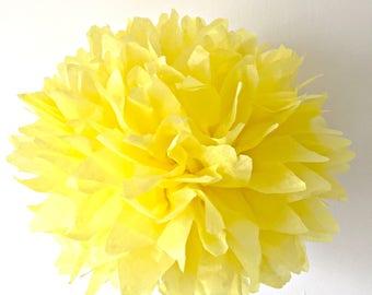 sunshine yellow / tissue paper pom pom / diy / wedding decor / nursery / yellow pom pom flower