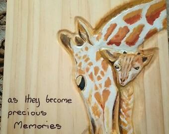 Giraffe painting on pinewood