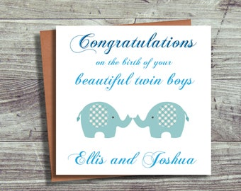New Baby Twins Card Personalised, Birth Card, Congratulations Baby Card, Card For Twin Boys