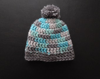 Crochet baby hat - Preemie to 24 months - Made to order - Baby boy hat - Handmade - Heather gray, white and blue