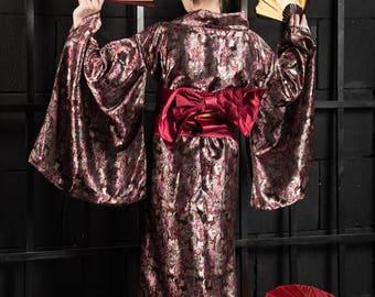 Dark red jacquard kimono 75% discount (old price 150USD)