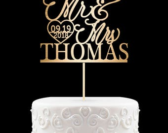 Custom Wedding Cake Toppers - Personalized Bride and Groom Topper for Cakes - Mr. & Mrs. Heart Arrow - Add Your Last Name and Wedding Date 9