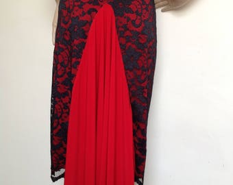 Argentine Tango skirt with black lace