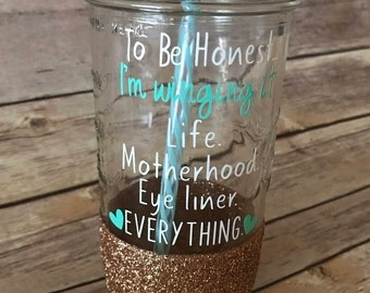 Winging It Glitter Dipped Mason Jar Tumbler