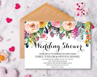 Wedding Shower Invitation, Fall Floral Bridal Shower Card, Couples Shower Invite, Fun wedding program, Instant Download, Decor, Signs, WS 09