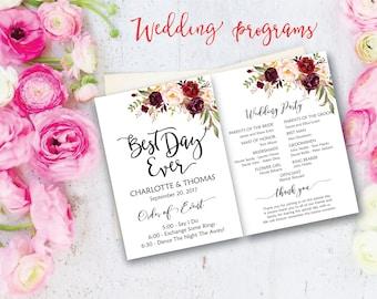 Wedding program, Boho wedding program, DIY Wedding Program, Fun Wedding Program, Printable Wedding Program Fan, INSTANT DOWNLOAD.
