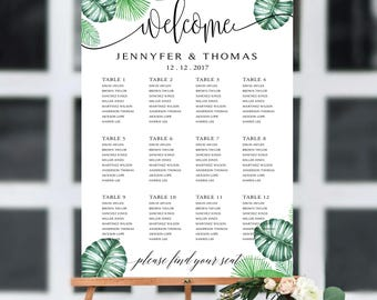 Tropical Wedding Seating Chart Template, Seating Chart Printable, Wedding Seating Plan, seating chart greenery, wedding seating chart, #116
