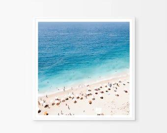 Beach Photography, Beach Art Print, Areal Beach, Printable Wall Art, Modern Minimal, Seaside Art, Teal Art, Digital Download, Beach print
