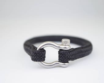 SINGLE BLACK & silver | Sailing bracelet - Custom and Handmade