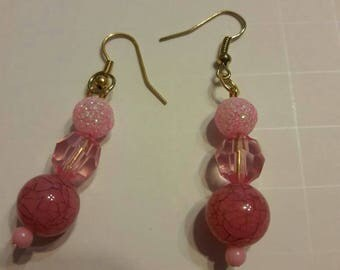 Earrings, Womens Pink Dangling Earrings, Gift, brides maid gift, Pink Earrings