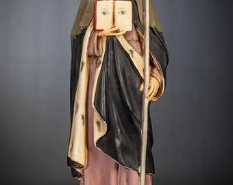 "St Odile of Alsace Statue | Saint Odilia Figure | Antique Ottilia Figurine | RARE Religious Polychromed Plaster | 17"" Large"