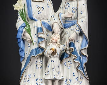 "12"" Antique Holy Family Bisque Porcelain Statue Joseph Virgin Mary Child Jesus 9"