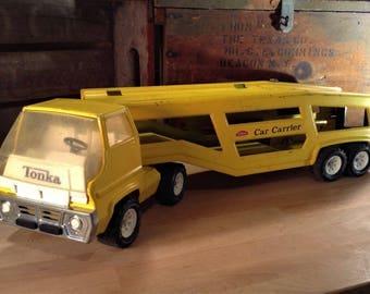 Tonka Truck, TONKA CAR CARRIER, Tonka Gas Turbine Car Hauler #2845, Large Pressed Steel Toy Truck, Vintage Tonka Trucks, 1970s Tonka Toys,