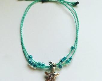 Custom Silver Starfish Adjustable Waterproof Bracelet