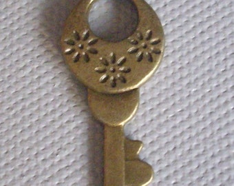 Bronze key charm or pendant - 30 x 14 mm