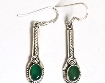 925 Sterling Silver Green Onyx Earrings