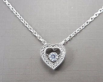 Sterling Silver Dancing CZ Heart  necklace, Heart necklace, CZ heart neckalce, Dainty necklace, simple necklace, love gift