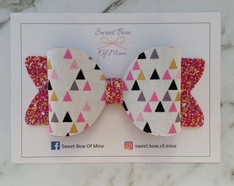 Large Hair Clip | Triangles & Pink Glitter | Hair Bow, Hair Clip, Glitter Bow, Oversized