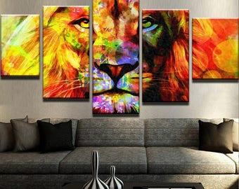 Lion Abstract Canvas Set Animal Canvas Set Animal Poster Animal Wall Decor Lion Wall Art Lion Wall Print