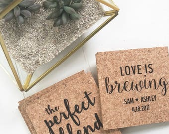 Personalized Cork Wedding Coasters Favors-Bridal Shower Favors-Rustic Bridal Shower-Shower Favors-Bridal Shower Gifts for Guests-Customized
