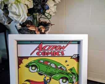 Action Comics Issue #1 3D Shadow Box Diorama (8x8)