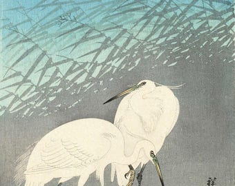 "Japanese Art Print ""Herons in Reeds"" by Ohara Koson, woodblock print reproduction, fine art, asian art, cultural art, crescent moon"