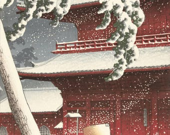 "Japanese Art Print ""Snow at Zojoji Temple, Shiba"" by Kawase Hasui, woodblock print reproduction, asian art, cultural art, winter, snowfall"