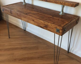 Reclaimed Industrial Rustic PC Desk Computer Table, Writing Desk with Shelf