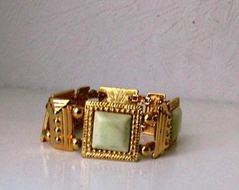 Beige and gold vintage Monet square bracelet
