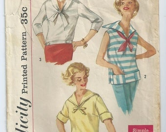 Vintage sewing pattern Simplicity 2438 sailor collar blouse size 14