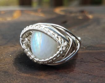 Sterling Silver and Rainbow Moonstone Wire Wrap Ring
