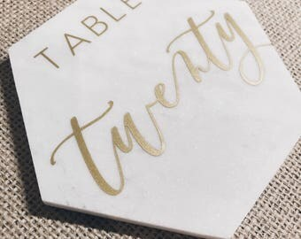 5 Inch Hexagon Marble Table Numbers // Hand lettered // Vinyl // Calligraphy